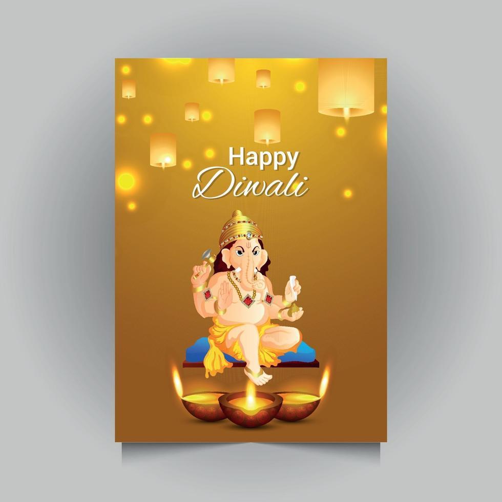tarjeta de felicitación de celebración de shubh diwali vector