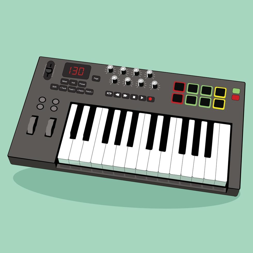 teclado midi, perfecto para la industria musical vector