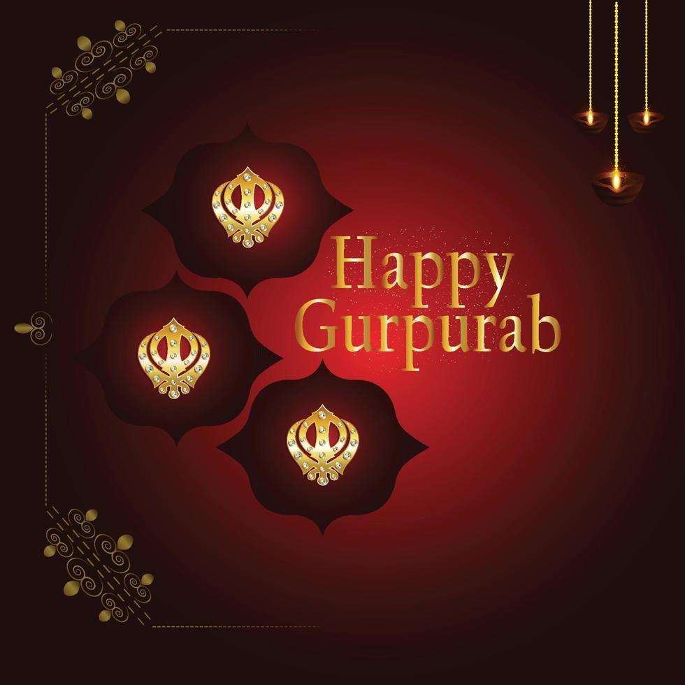 feliz gurú gobind singh jayanti con símbolo sikh khanda sahib vector