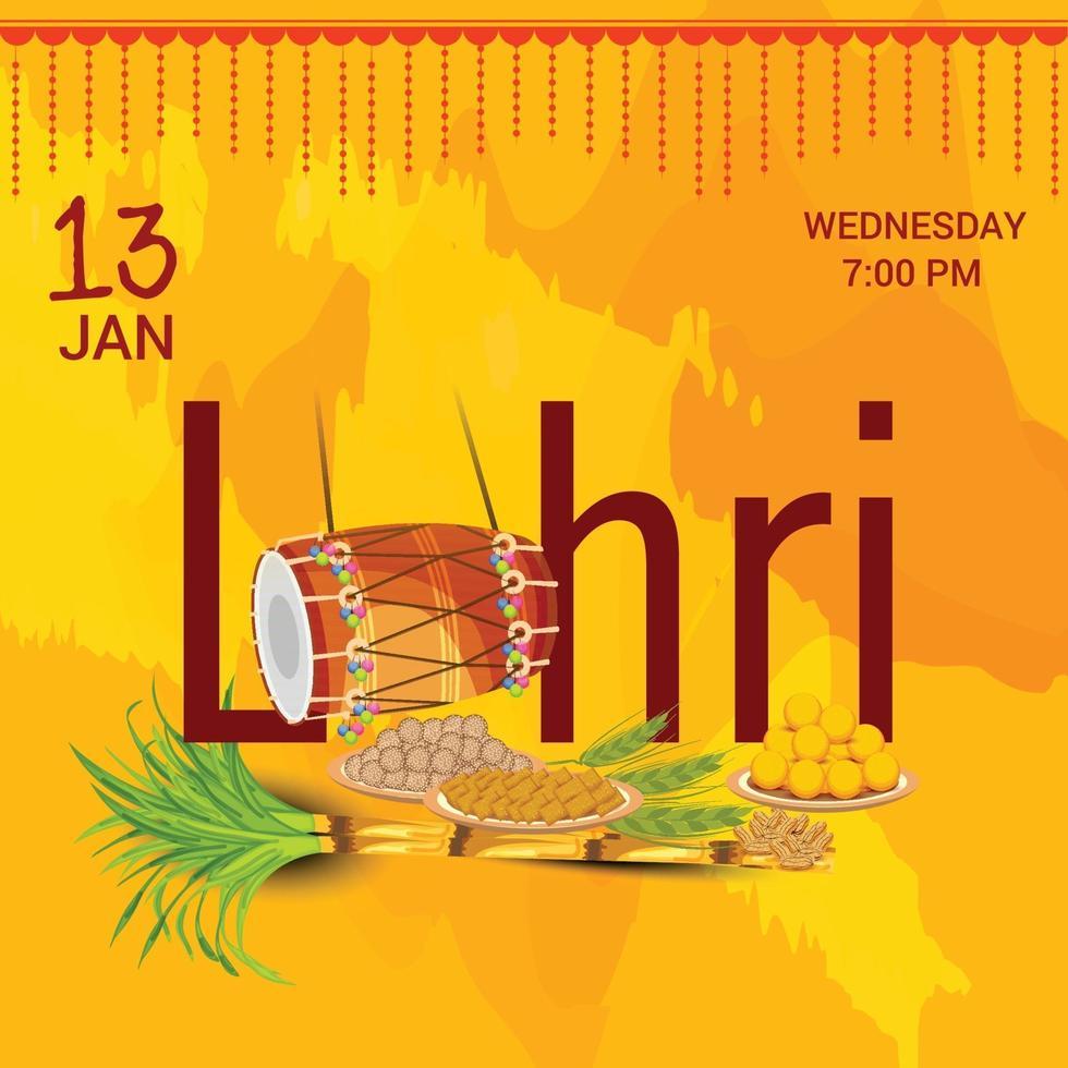 ilustración vectorial de un fondo para la plantilla de vacaciones felices lohri para el festival punjabi. vector