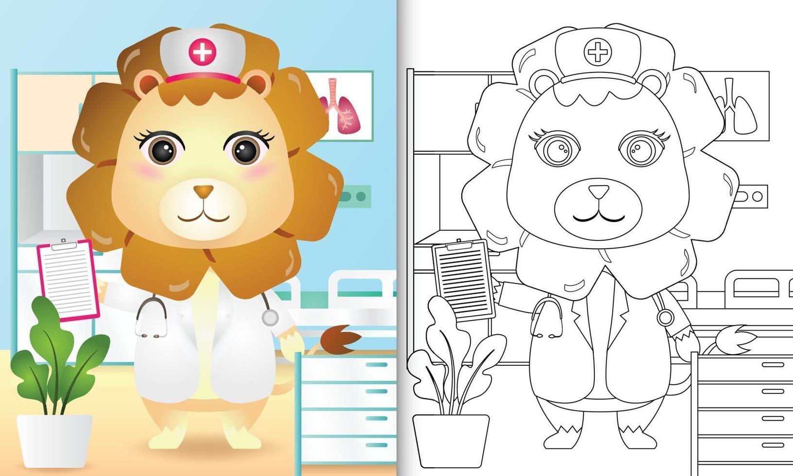 libro para colorear para niños con una linda ilustración de personaje de enfermera león vector