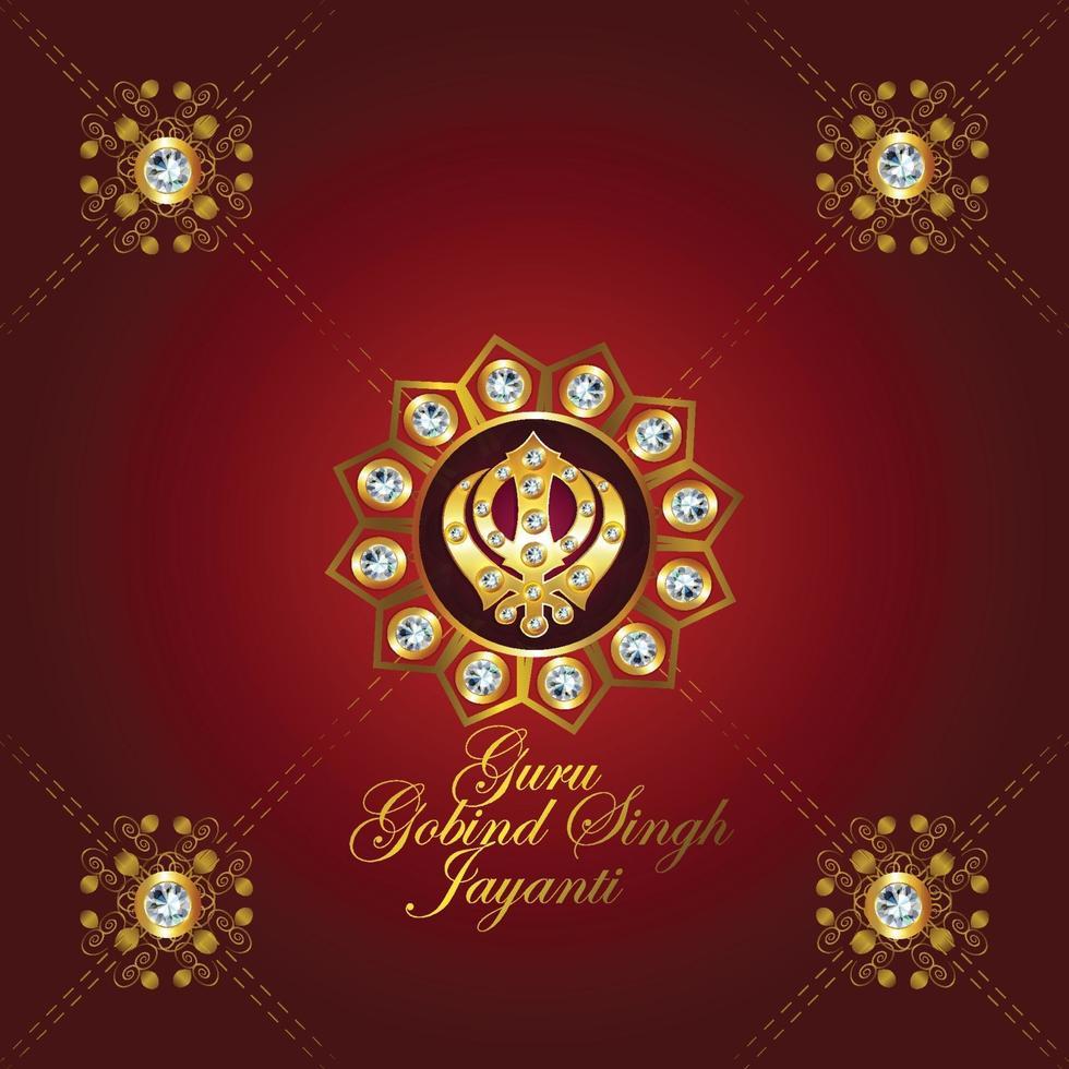 feliz guru gobind singh jayanti celebración antecedentes vector