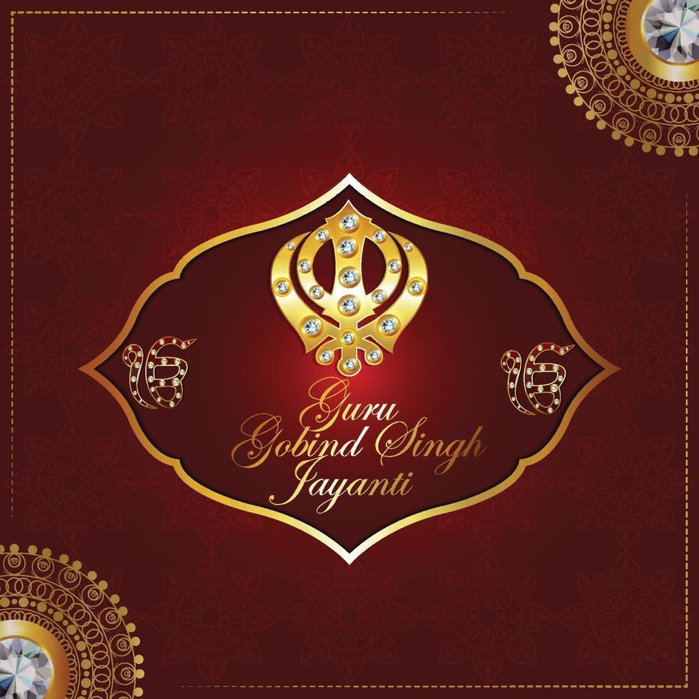 feliz guru gobind singh jayanti celebración con símbolo sikh khanda sahib vector