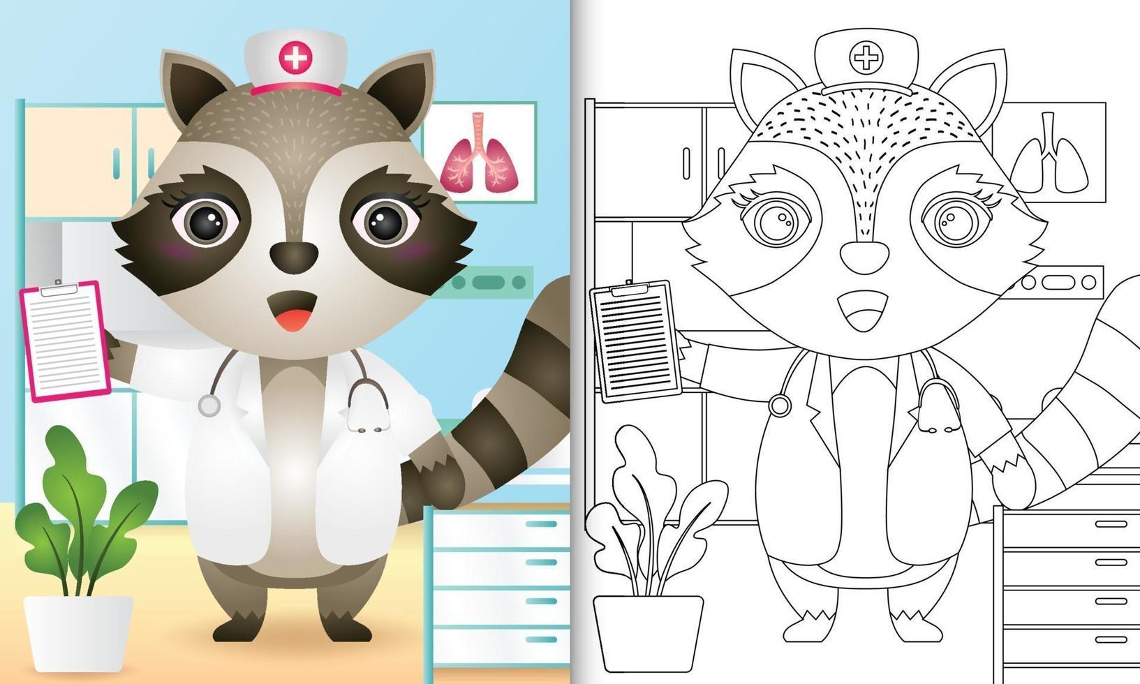 libro para colorear para niños con una linda ilustración de personaje de enfermera mapache vector