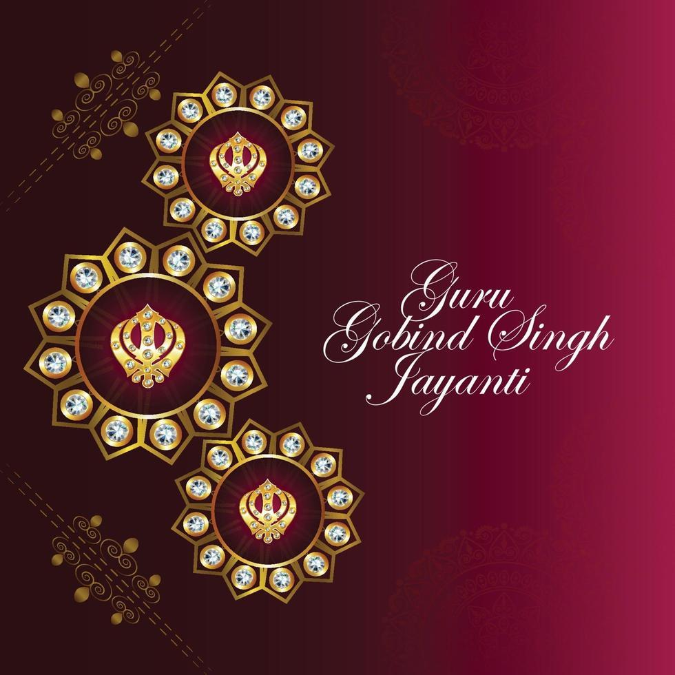 festival sikh, tarjeta feliz guru gobind singh jayanti vector