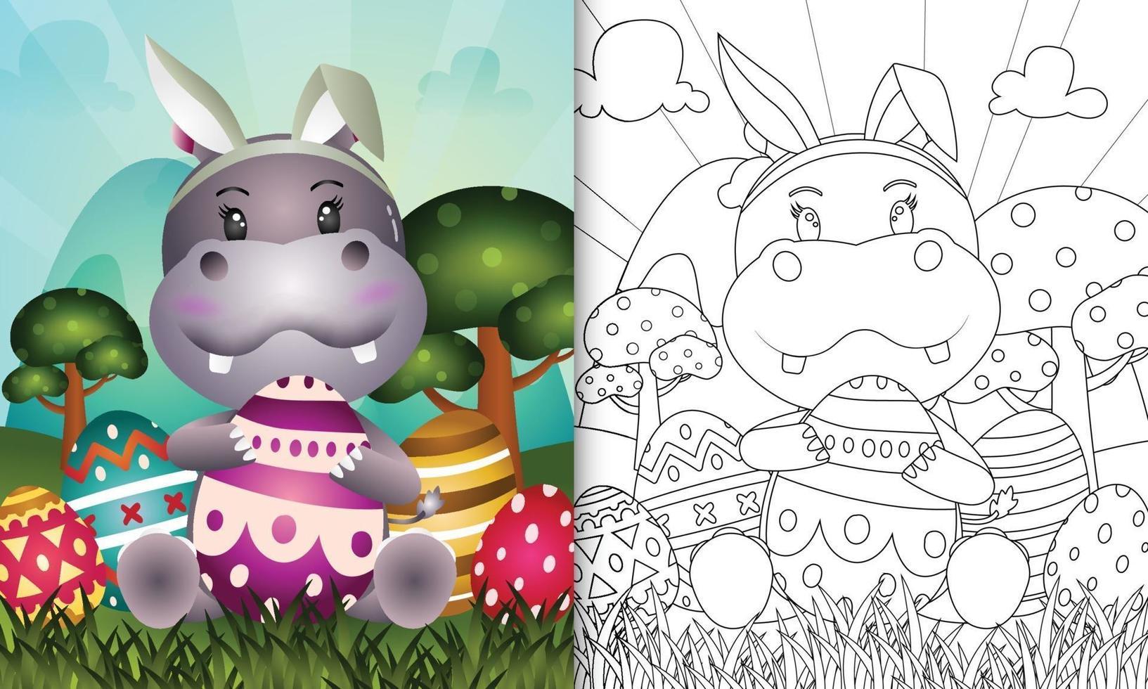 libro para colorear para niños con tema de pascua con un lindo hipopótamo con orejas de conejo vector