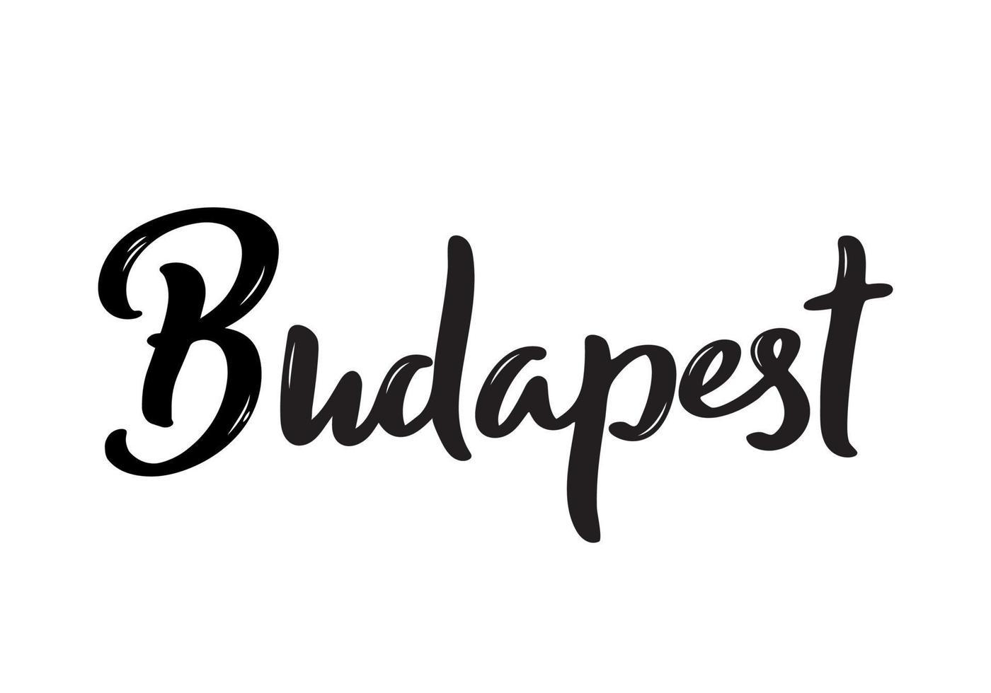 letras de Budapest. nombre escrito a mano de la capital de Hungría. vector