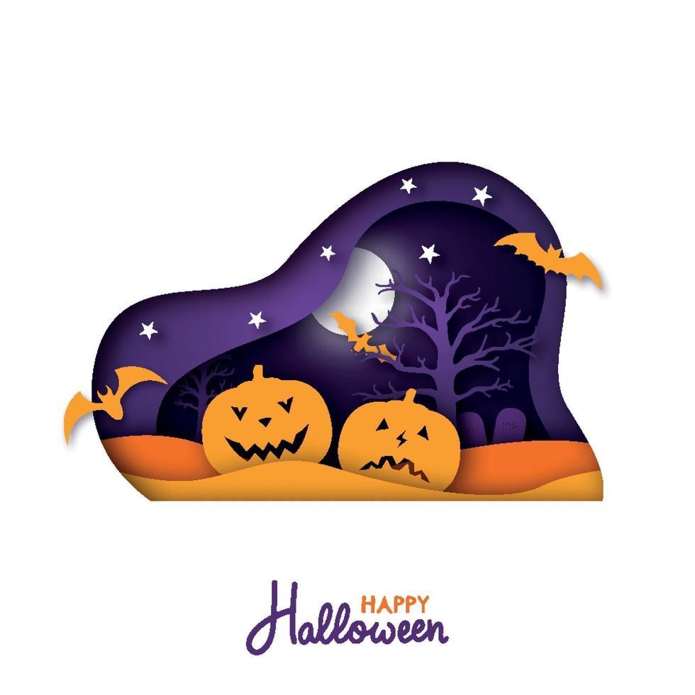 Feliz tarjeta de felicitación de halloween en papel. diseño de halloween cortado en papel. vector