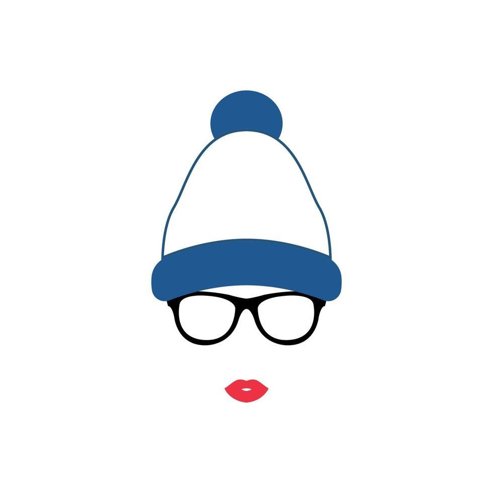 niña con gafas y gorro de punto con pompón. vector