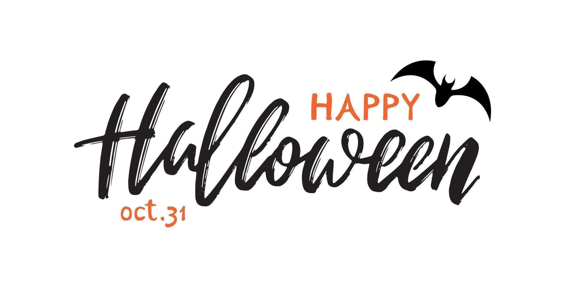 inscripción manuscrita feliz halloween. banner de saludo de vector para la celebración de halloween.