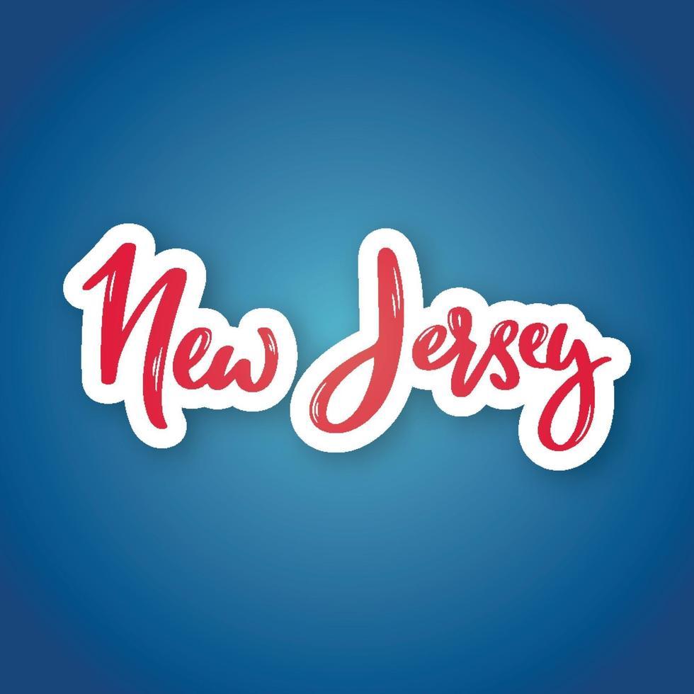 Nueva Jersey: nombre de letras dibujadas a mano del estado de EE. UU. pegatina con letras en estilo de corte de papel. vector
