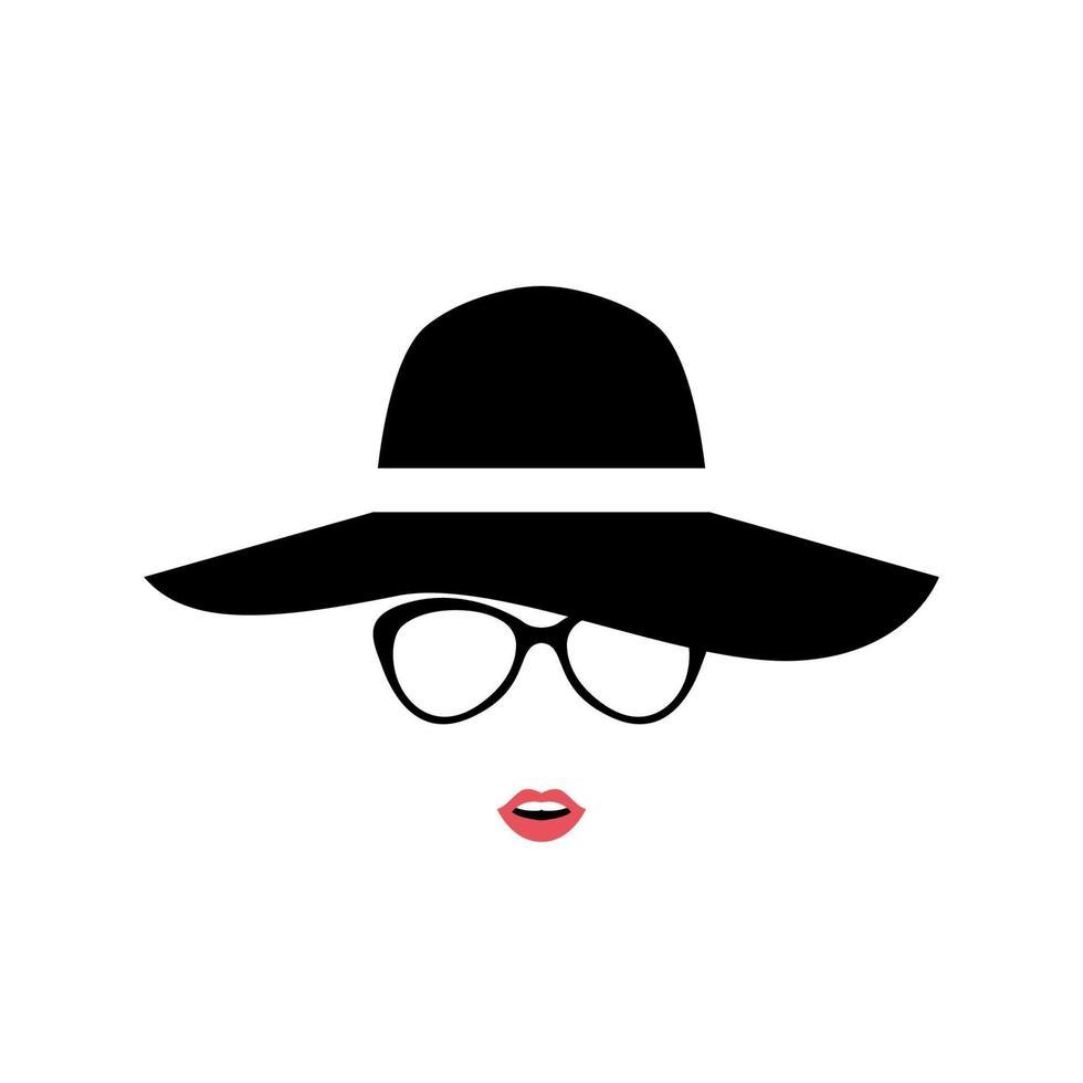 retrato de dama con elegante sombrero y gafas. icono de mujer aislado sobre fondo blanco. vector