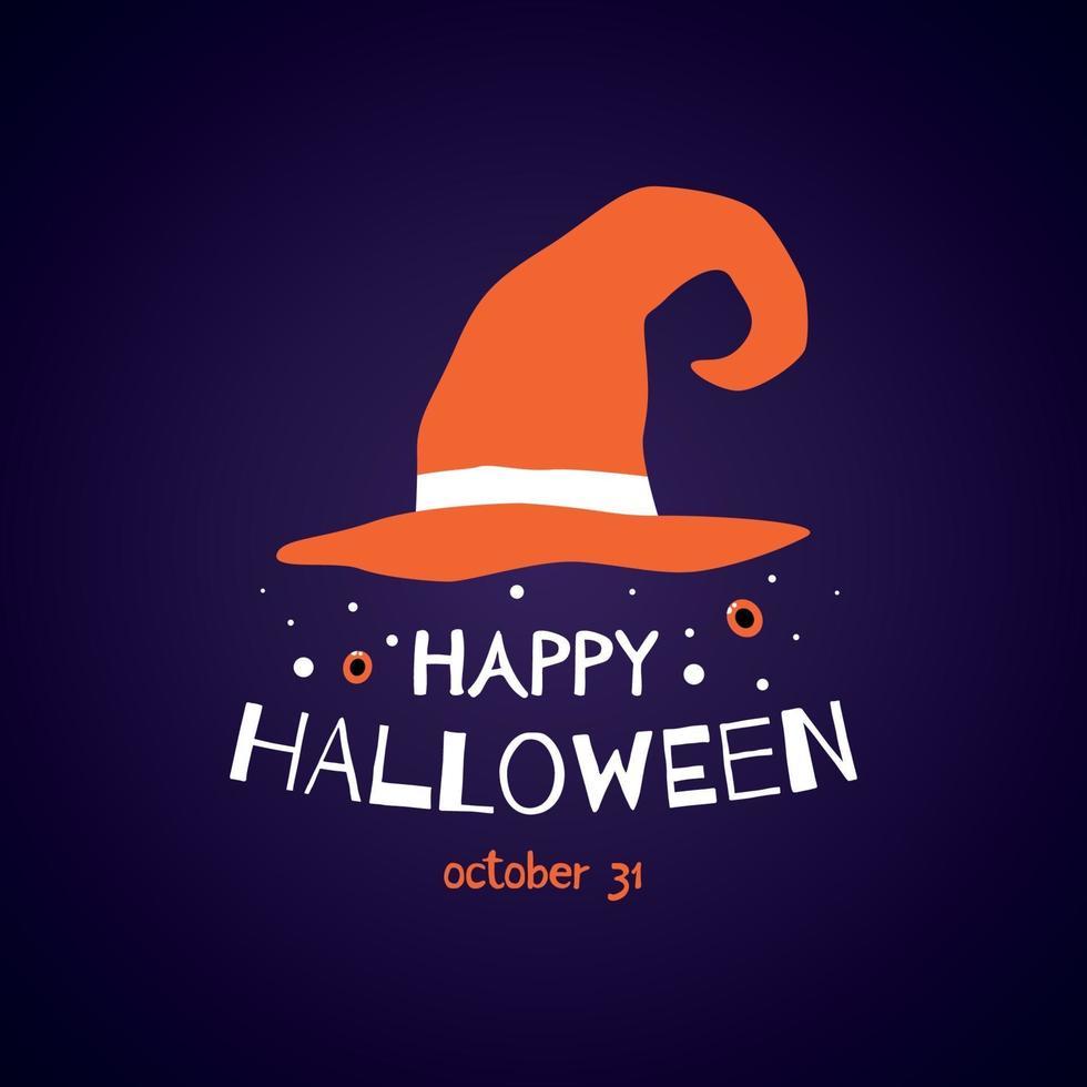 Feliz tarjeta de felicitación de halloween con sombrero de bruja y texto. vector