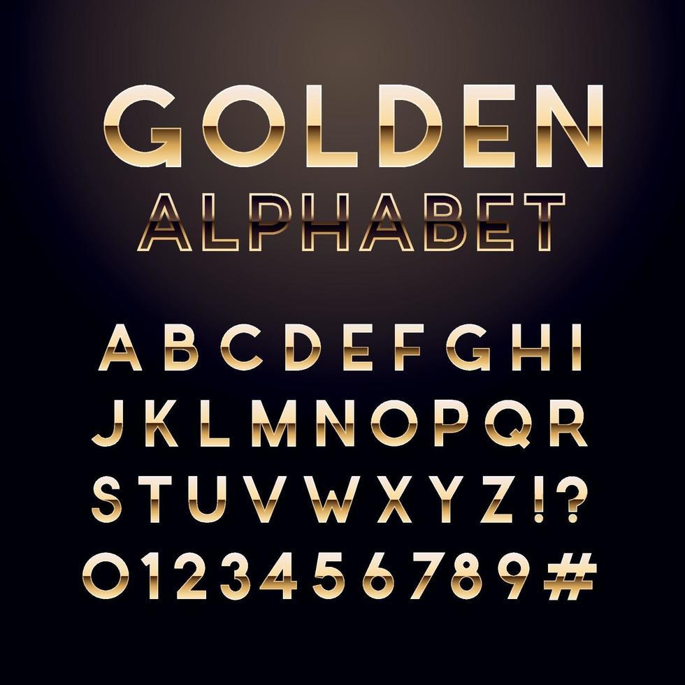 fuente de oro brillante. alfabeto inglés y signo de números. letras metálicas. vector