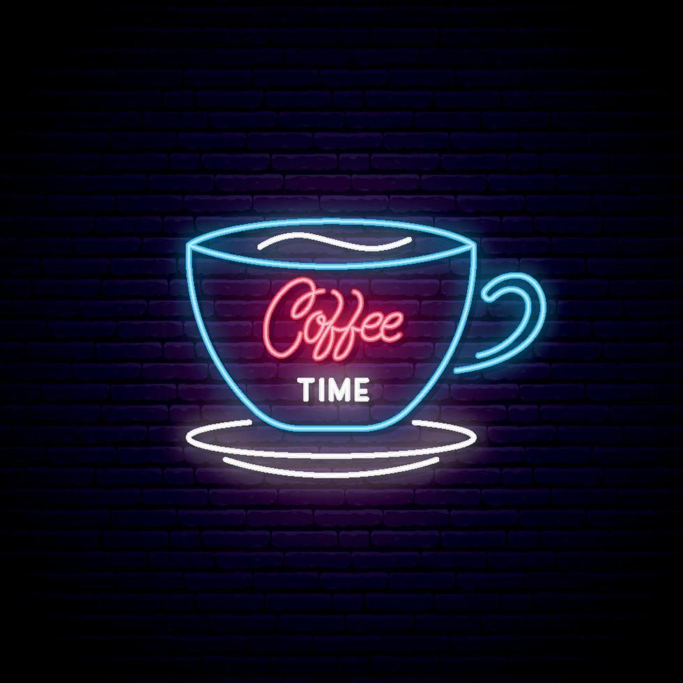 letrero de neón de la hora del café. Taza de café ligera sobre fondo de pared de ladrillo. emblema de cafetería o tienda de café. vector
