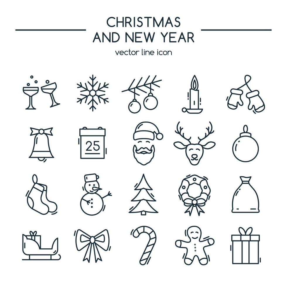 Feliz navidad y próspero año nuevo. conjunto de iconos de línea. vector