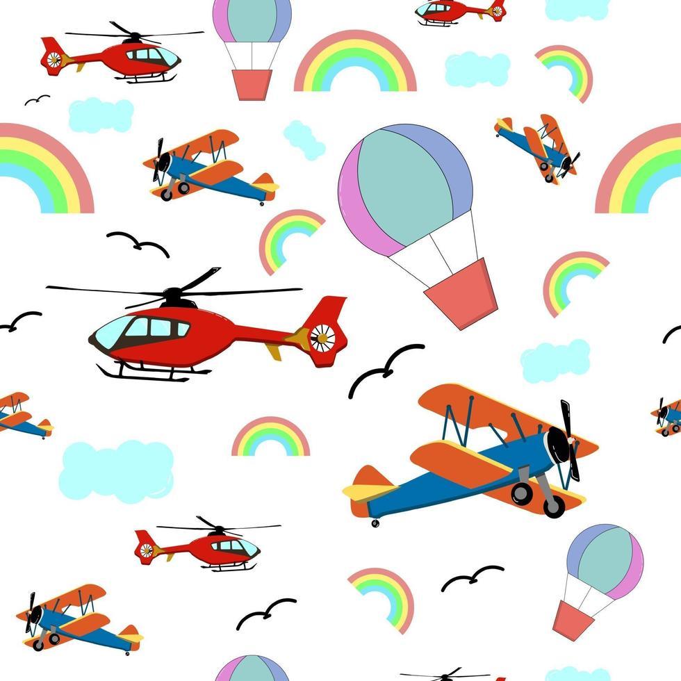 transporte aéreo de patrones sin fisuras, perfecto para el fondo o papel tapiz de la habitación de los niños vector