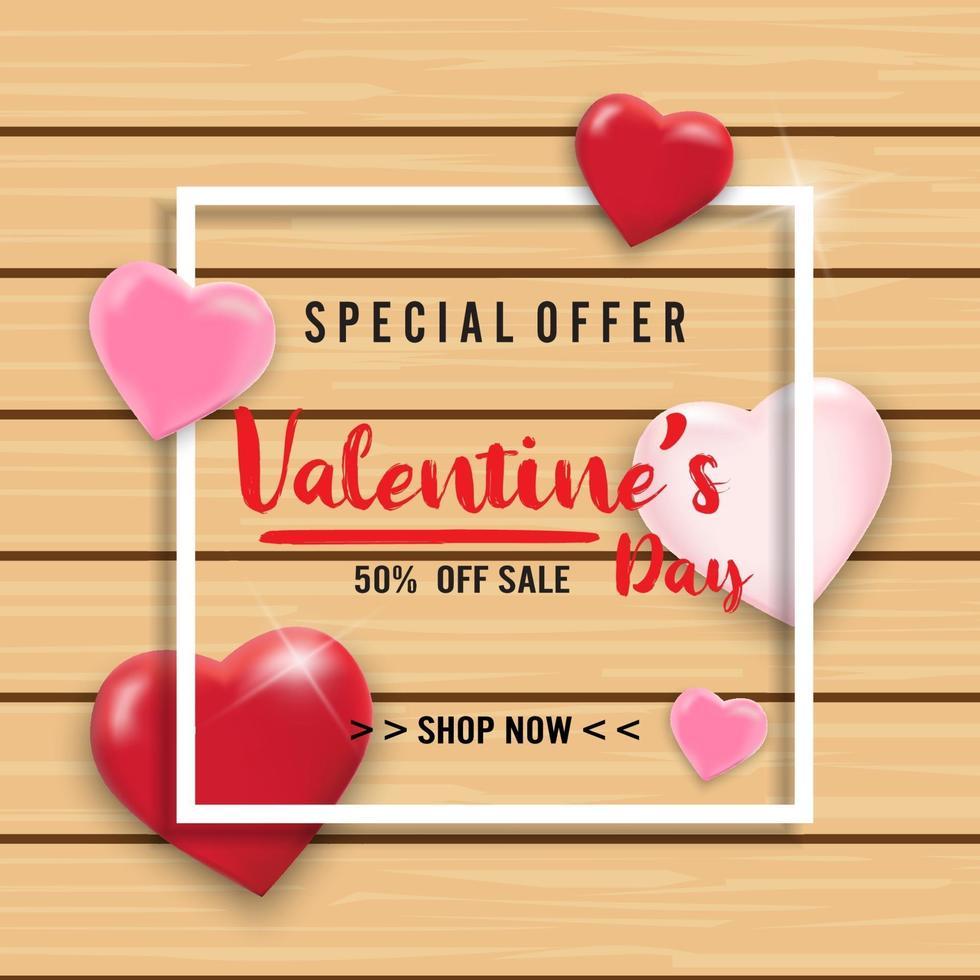 Fondo de venta de San Valentín con globos de corazón sobre fondo de madera. papel tapiz, volantes, invitación, carteles, folletos, pancartas. vector