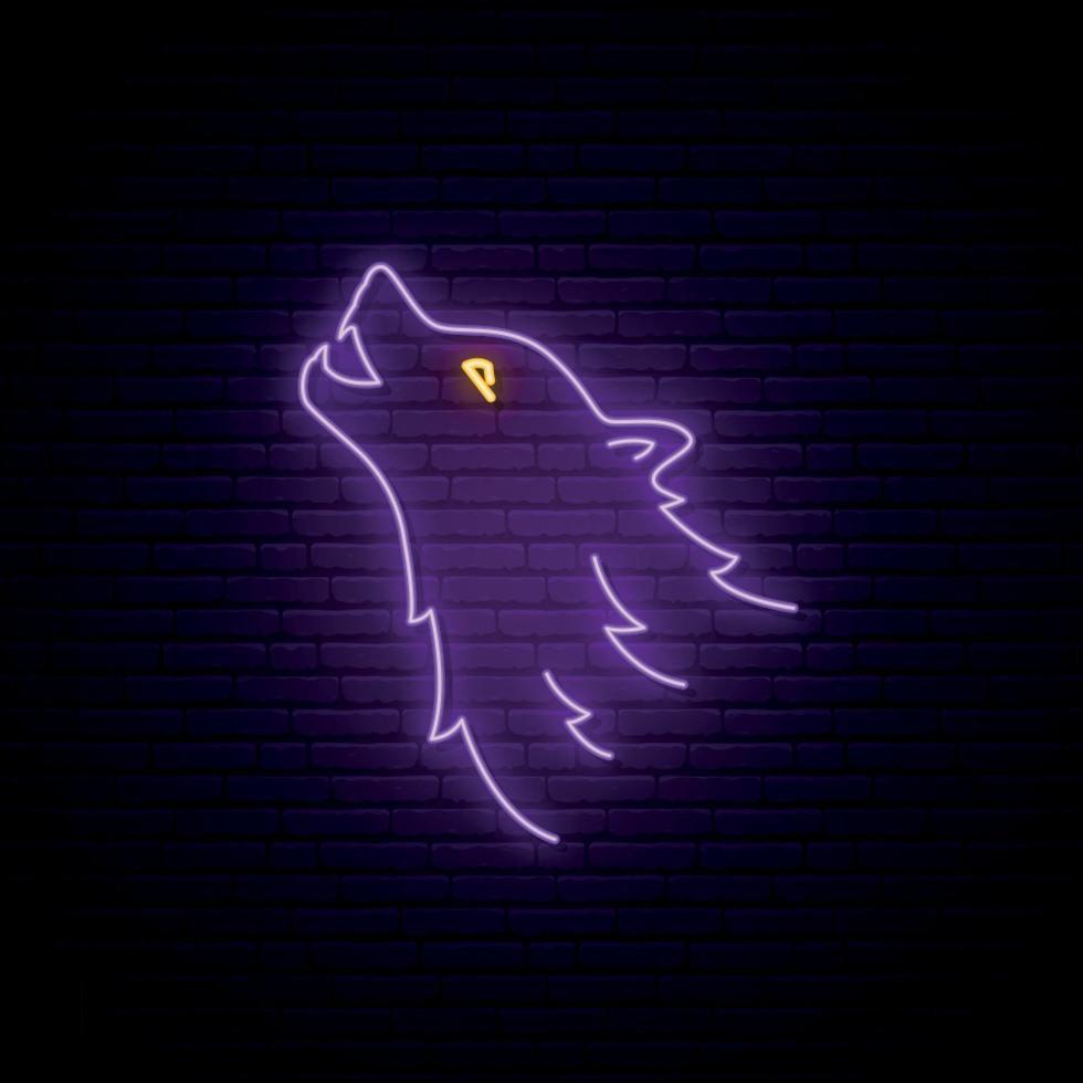 Wolf head neon sign. Purple wild wolf bright emblem. Vector illustration in neon style.