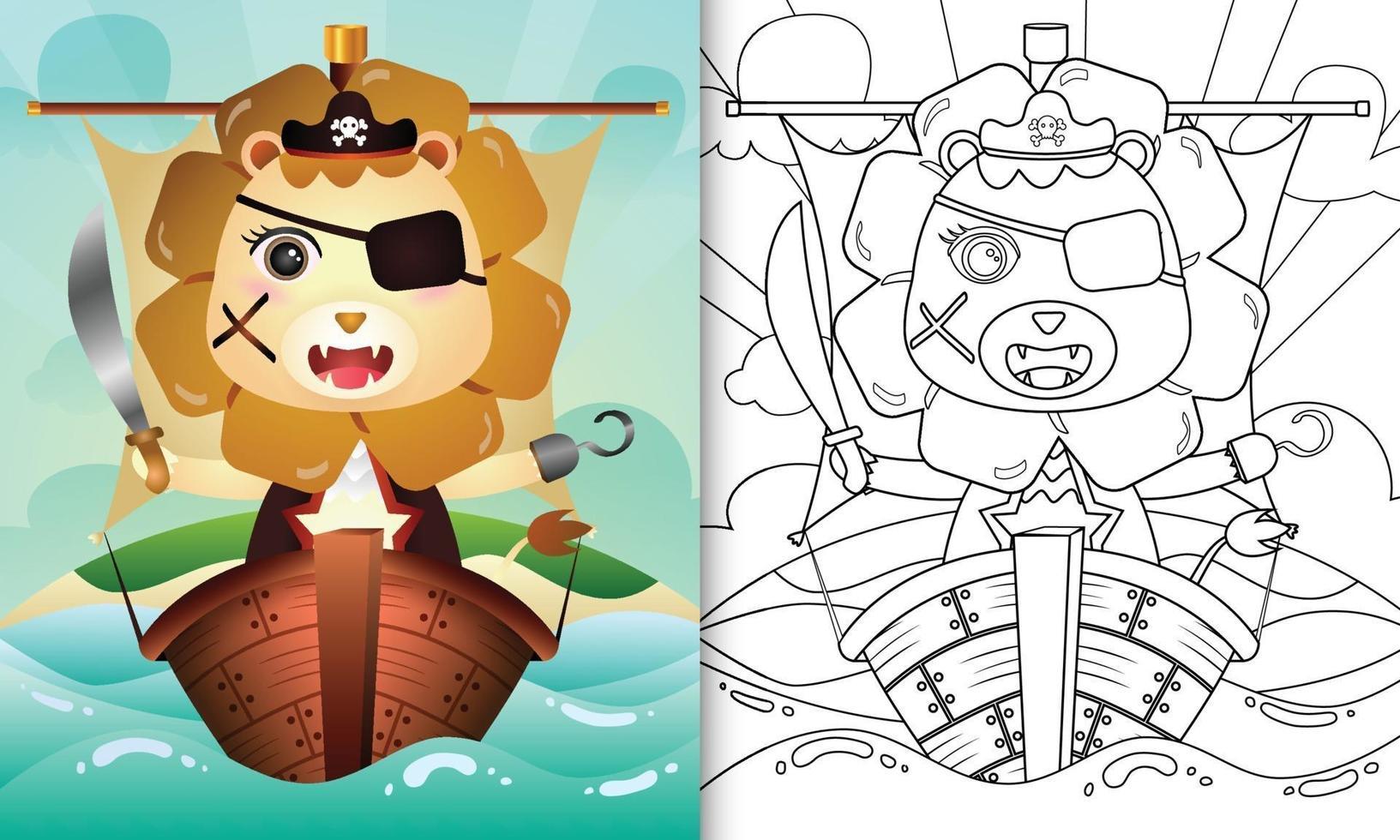 libro para colorear para niños con una linda ilustración de personaje de león pirata en el barco vector