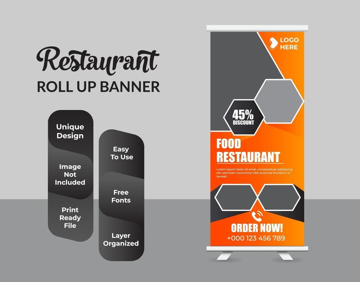 Plantilla de diseño de banner enrollable de comida y restaurante vector