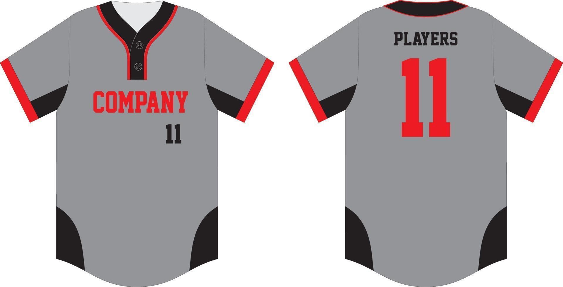 camiseta de béisbol simulada en la parte delantera y trasera vector