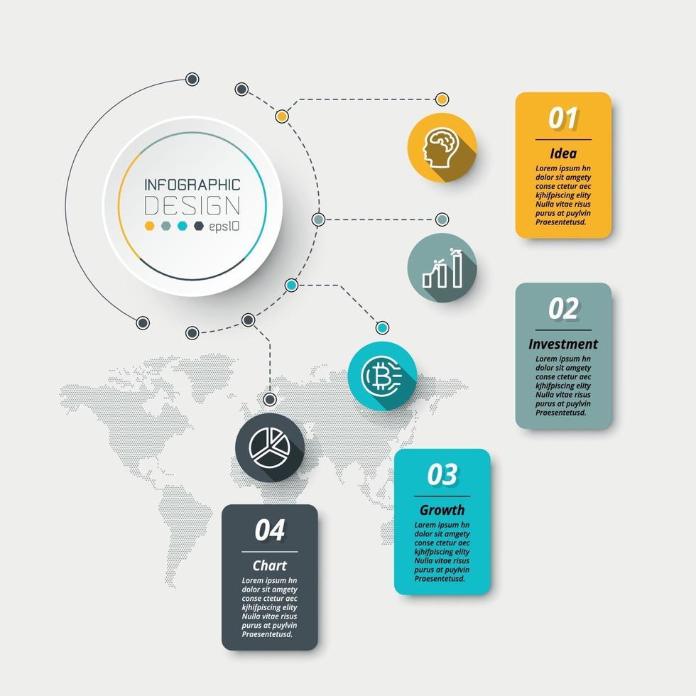 diseño de organización circular, 4 pasos de trabajo se aplican al trabajo de análisis, planificación, educación e informes. vector