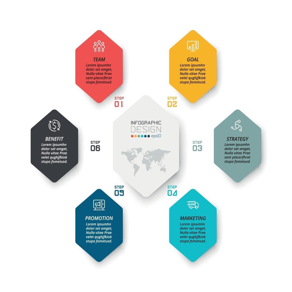 6 pasos para explicar el proceso de trabajo y reportar resultados a través del formato de diagramas, vectores, infografías y diseño. vector