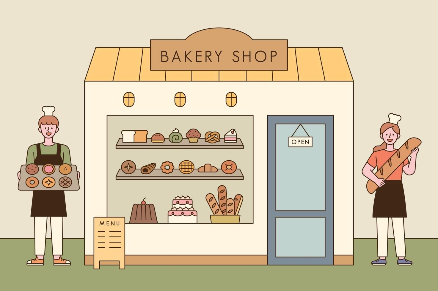 A bread shop and a baker character with delicious bread. Man and woman bakers greet in front of the bakery with bread. vector