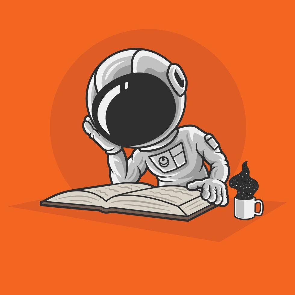 Los astronautas leyendo libros vector premium.