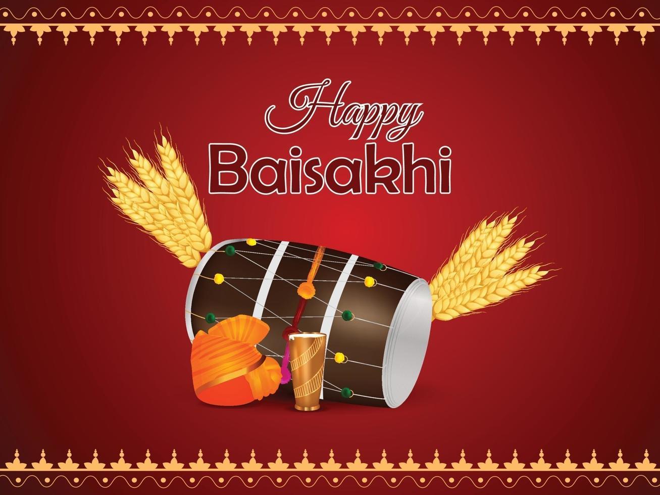 feliz celebración del festival vaisakhi punjabi vector