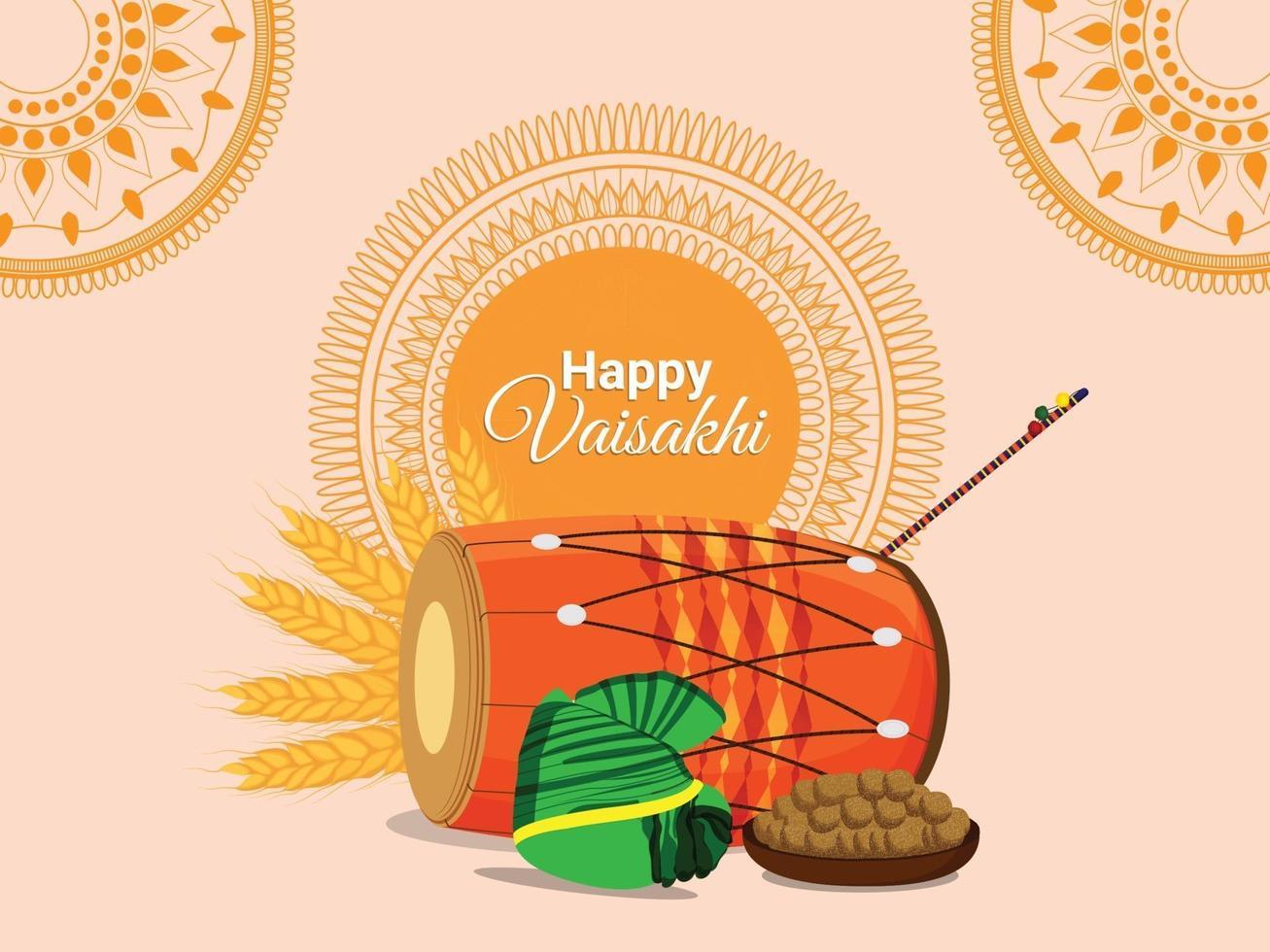 concepto de diseño plano del festival sij vaisakhi vector
