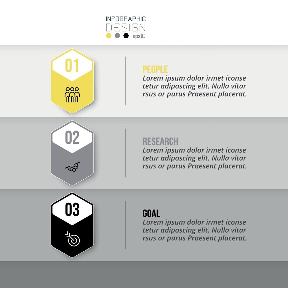 3 pasos de diseño hexagonal, presentación de información o establecimiento de objetivos comerciales en marketing. vector