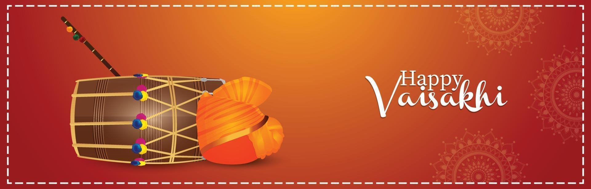 feliz celebración vaisakhi banner o encabezado vector
