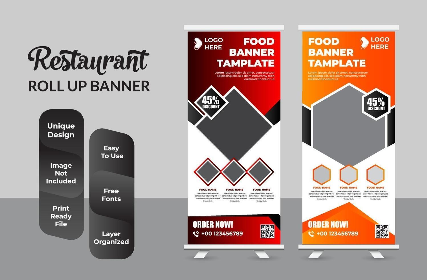 Restaurant business Roll up banner template design set vector