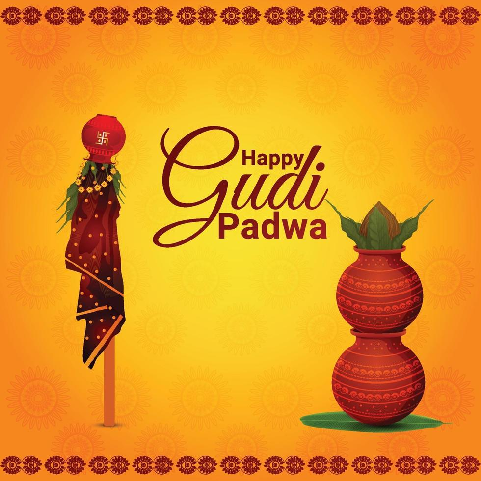Creative illustration of happy gudi padwa celebration vector