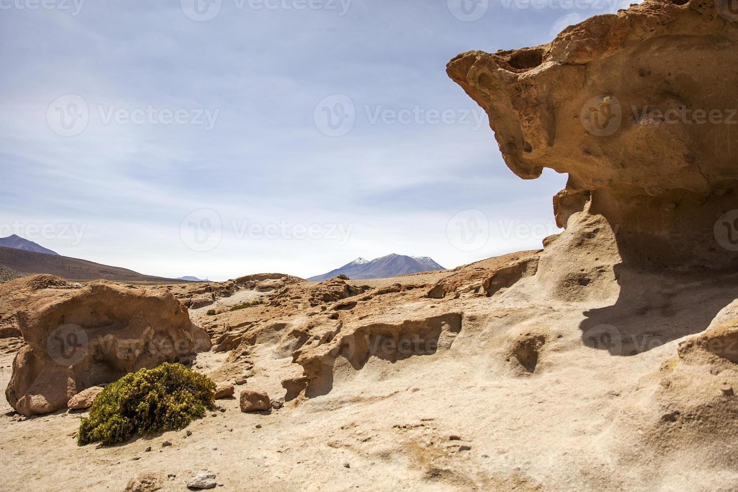 Rock formations of Dali desert in Bolivia photo