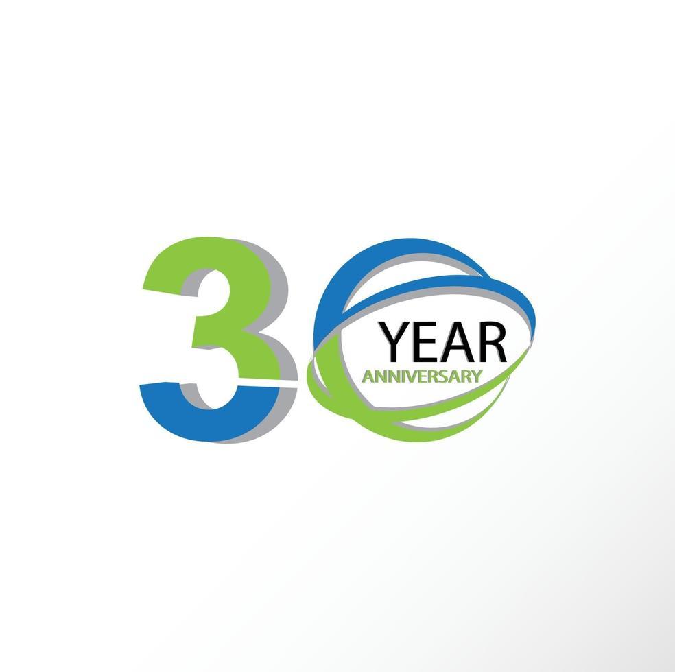30 años aniversario logo vector plantilla diseño ilustración azul y blanco