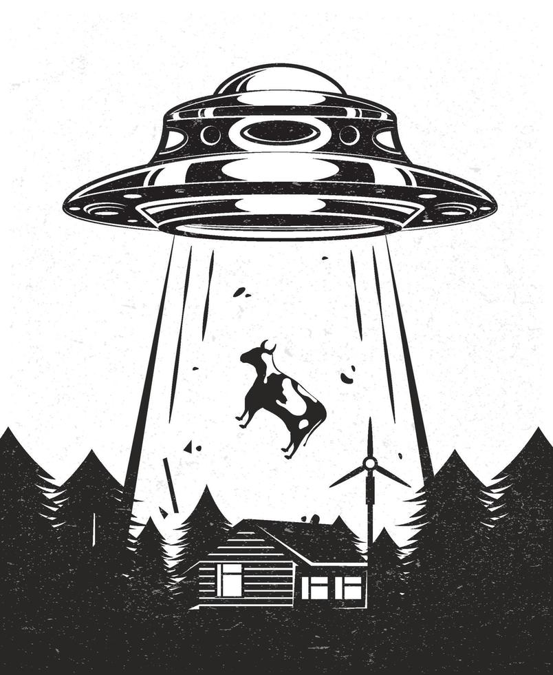 UFO poster vintage. Aliens abduct a cow from a farm. House with windmill mill in forest. Black and white design. Vector illustration.