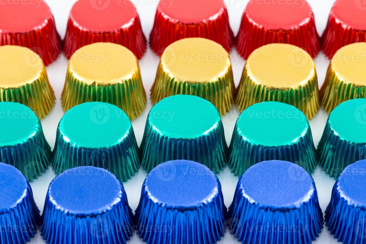 Colorful aluminum cupcake liners photo