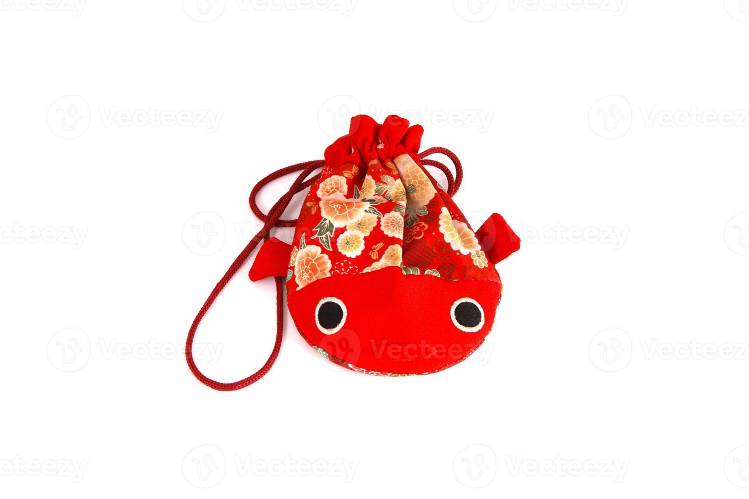 Red fish bag isolated on white photo