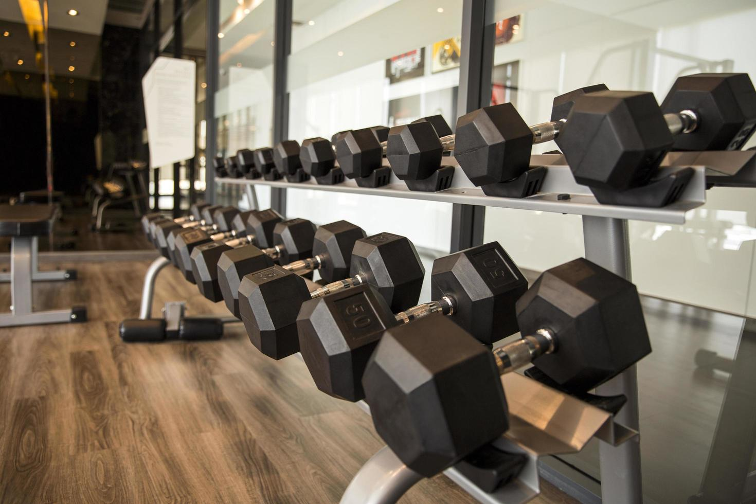 Dumbbells in a gymn photo