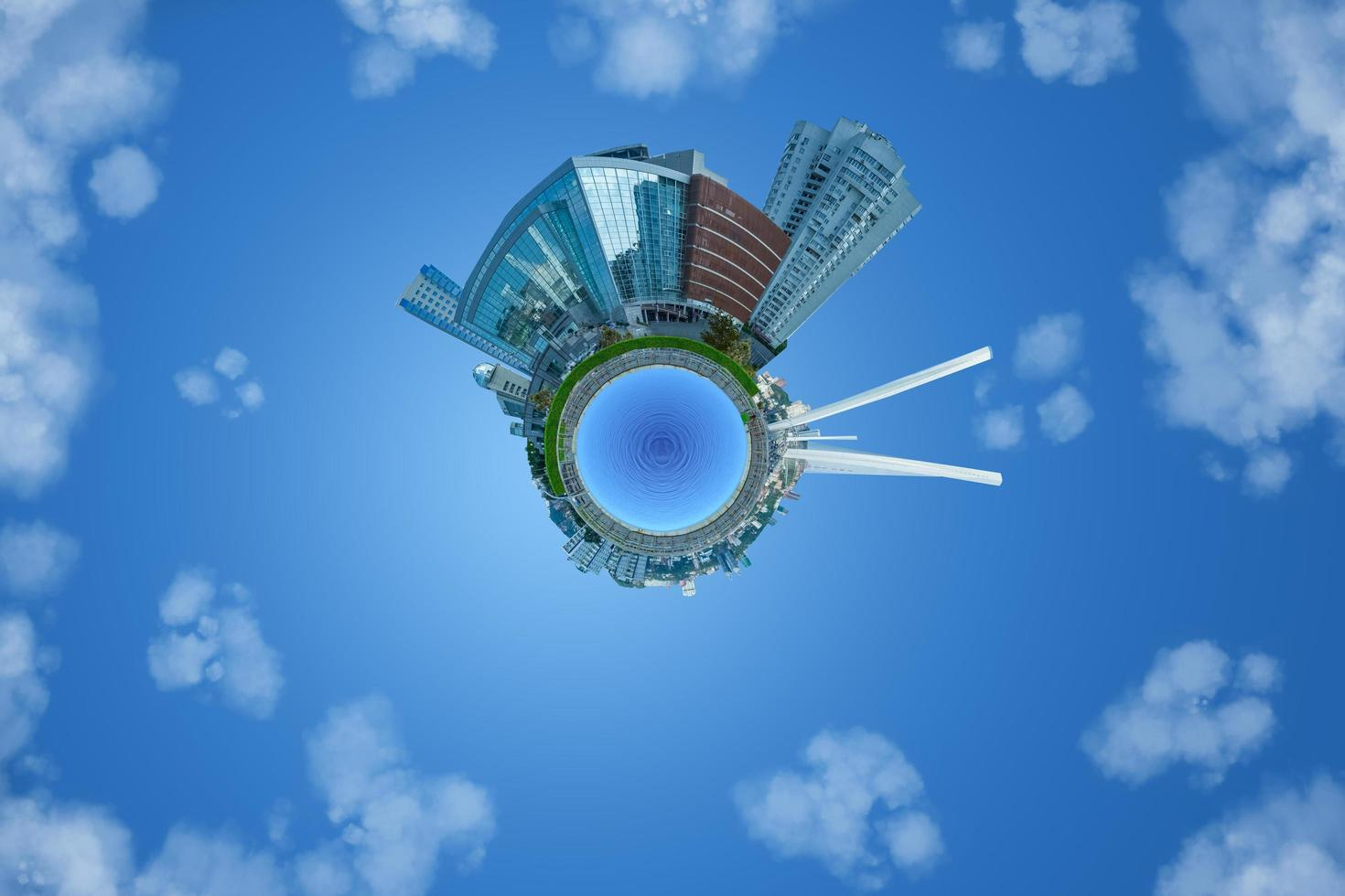 Cityscape with skyline in tiny planet photography style in Vladivostok, Russia photo