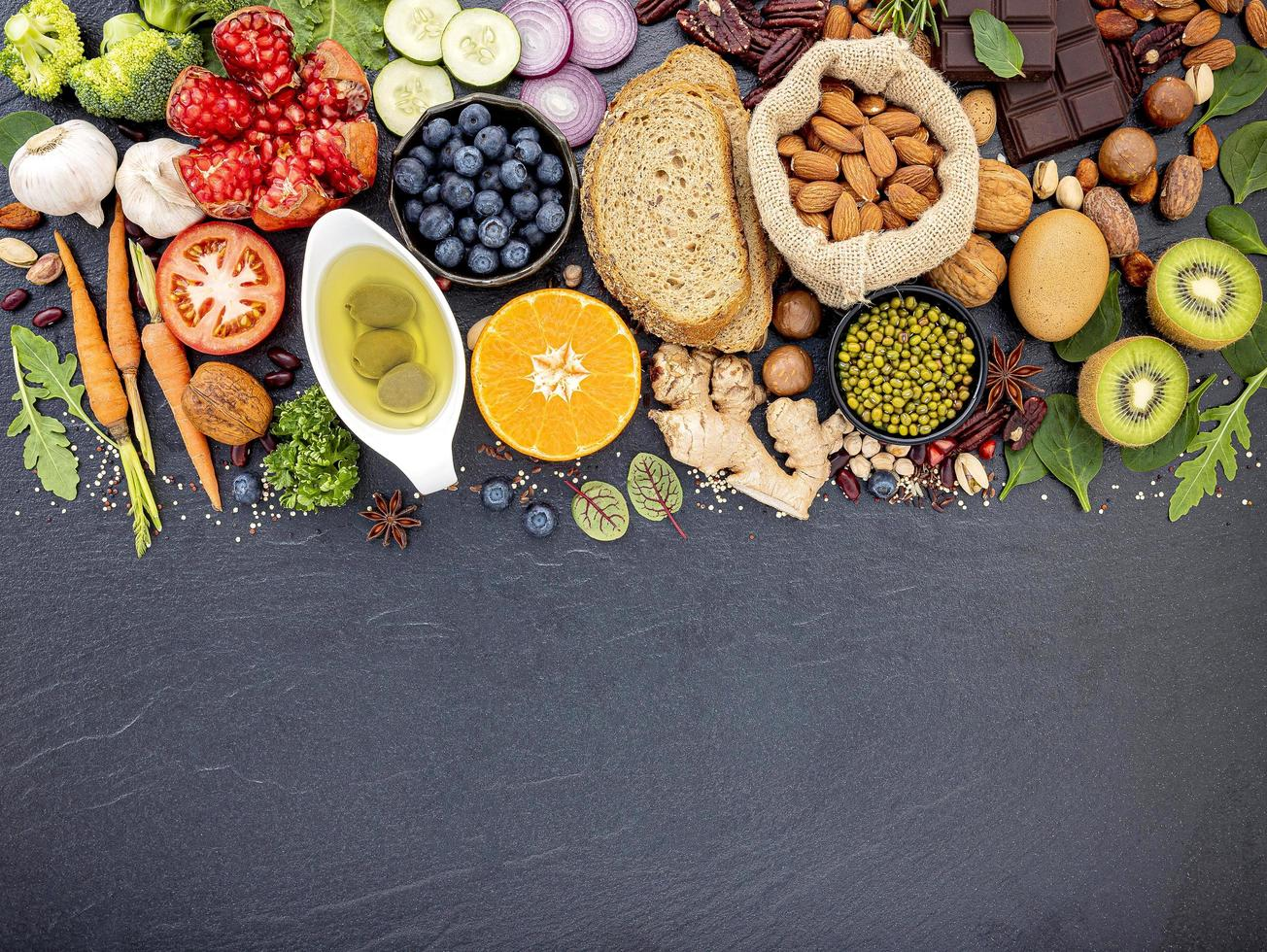 Healthy fresh food on slate with copy space photo