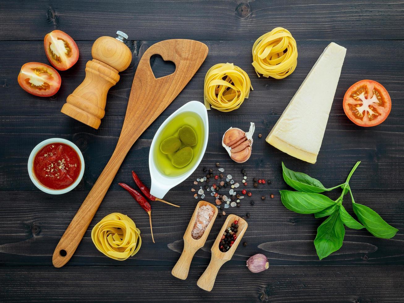 Fresh pasta meal ingredients photo