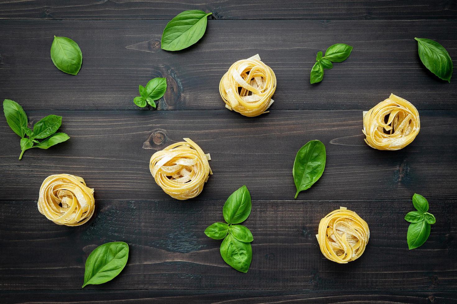 Pasta and basil pattern photo