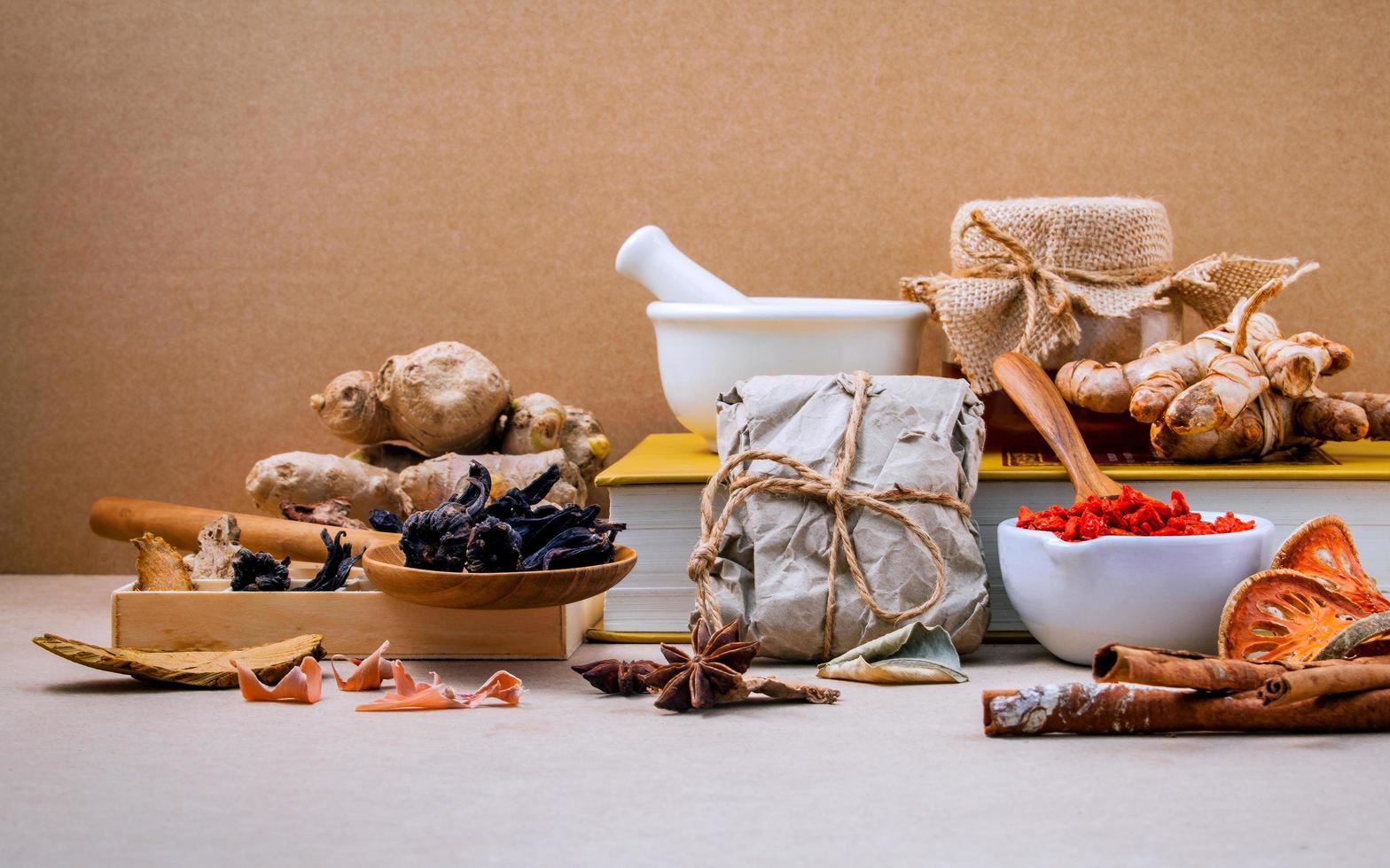 Alternative healthcare with herbs photo