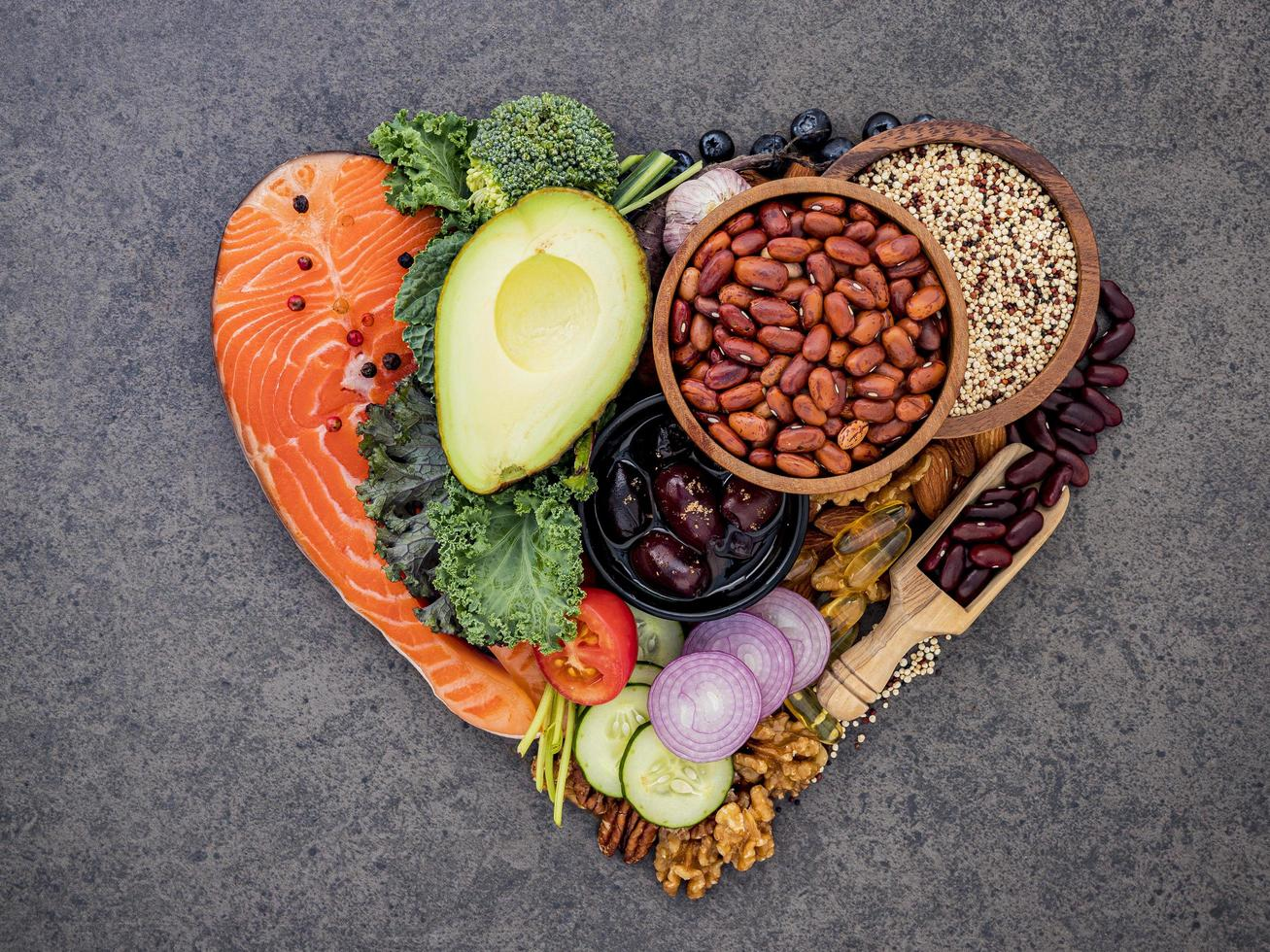 Healthy foods in a shape of a heart photo