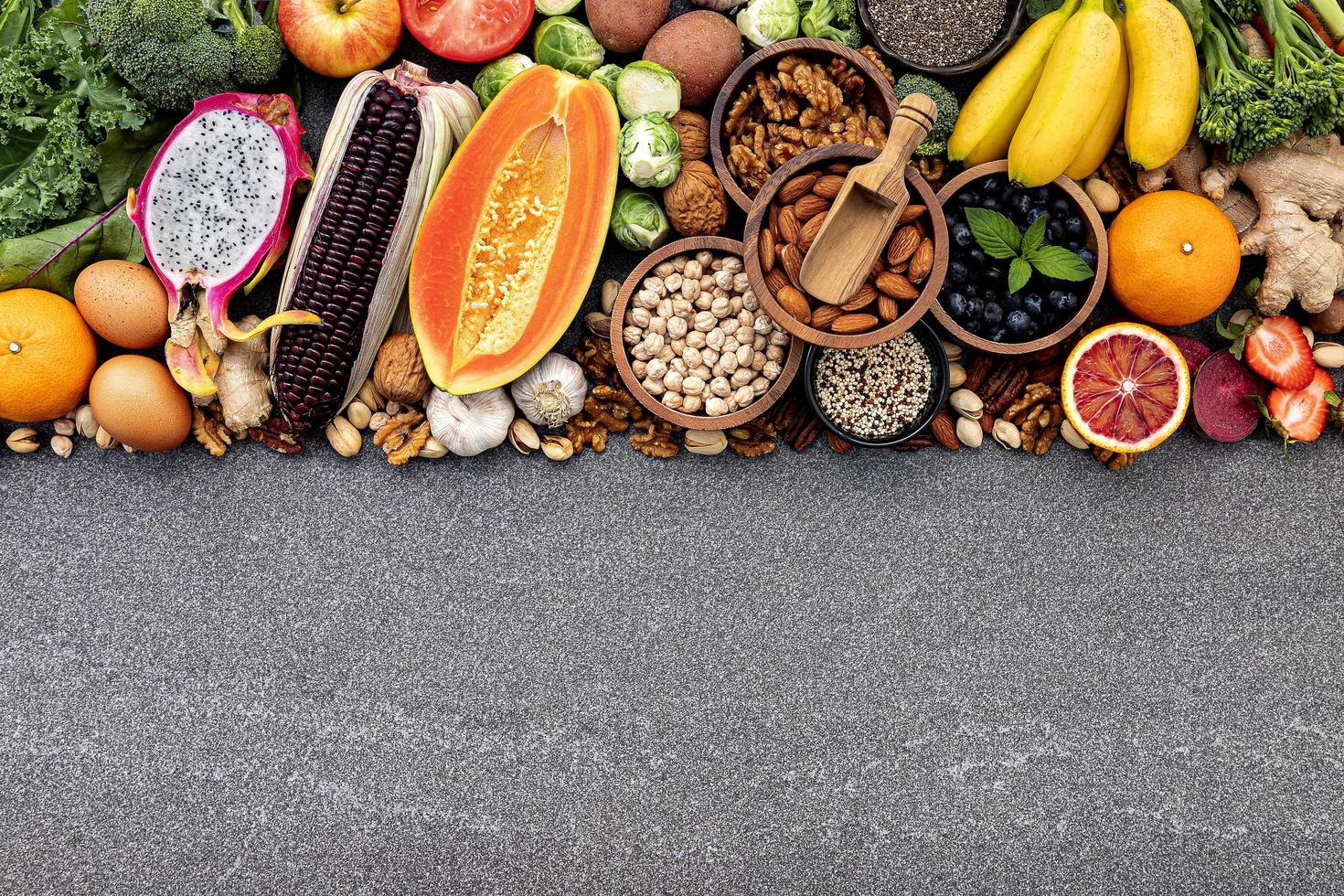 Healthy food with copy space on a gray background photo