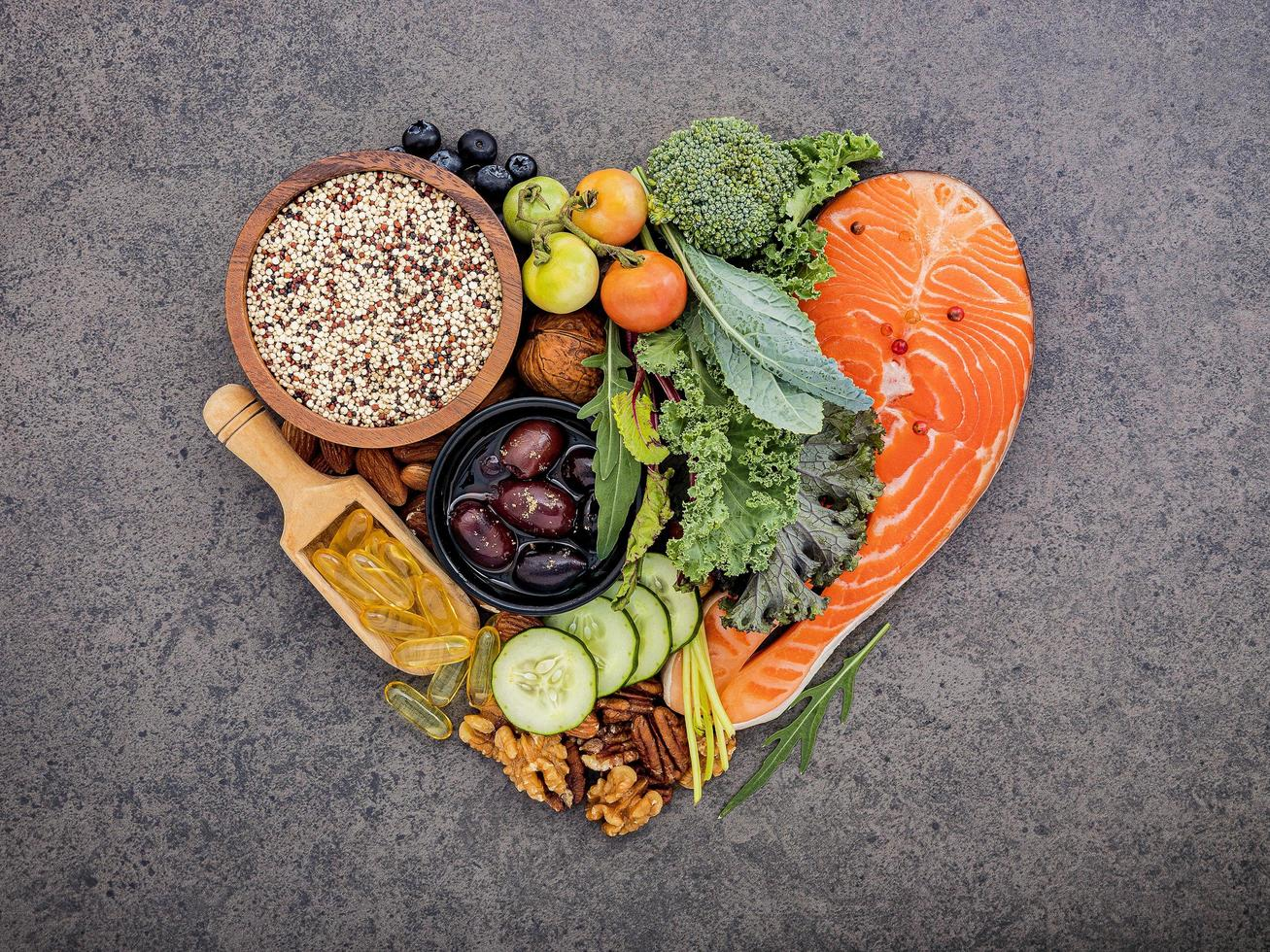 Heart shape ketogenic foods photo